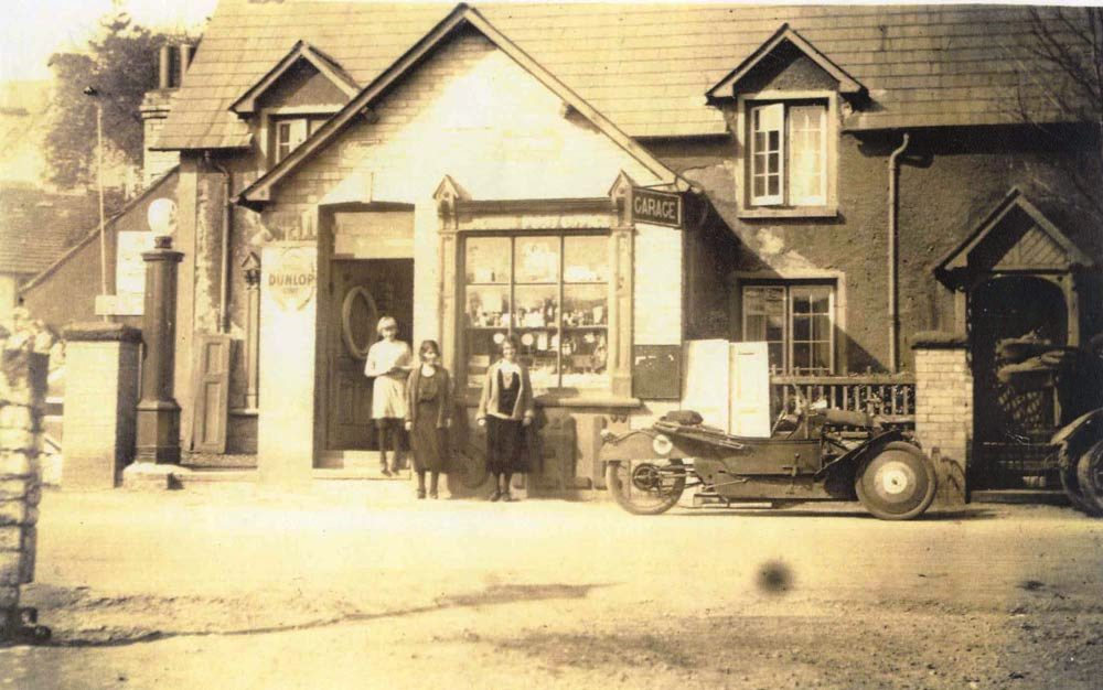 Machen Post Office and cyclecar postcard