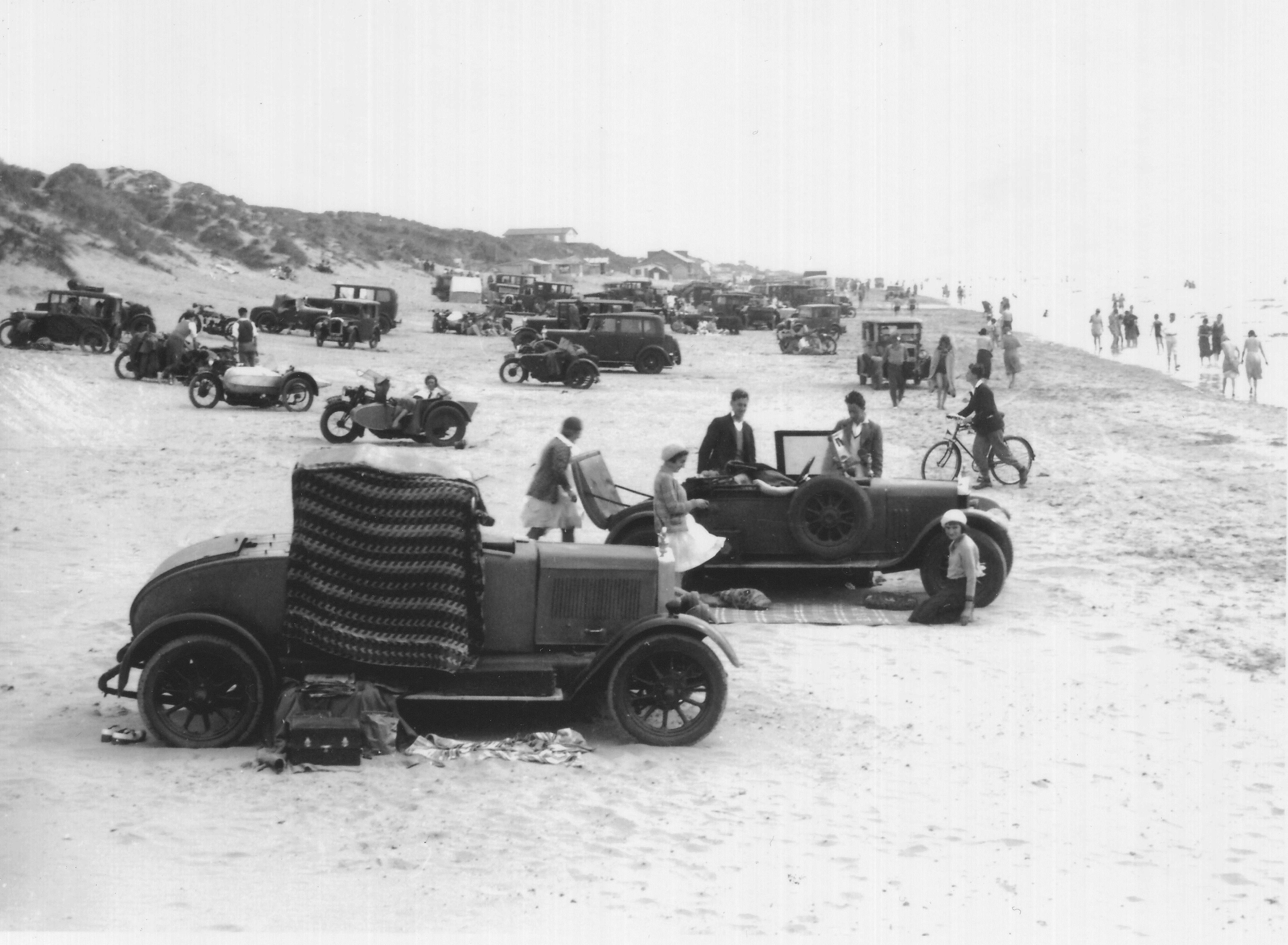 Postcard cars on beach