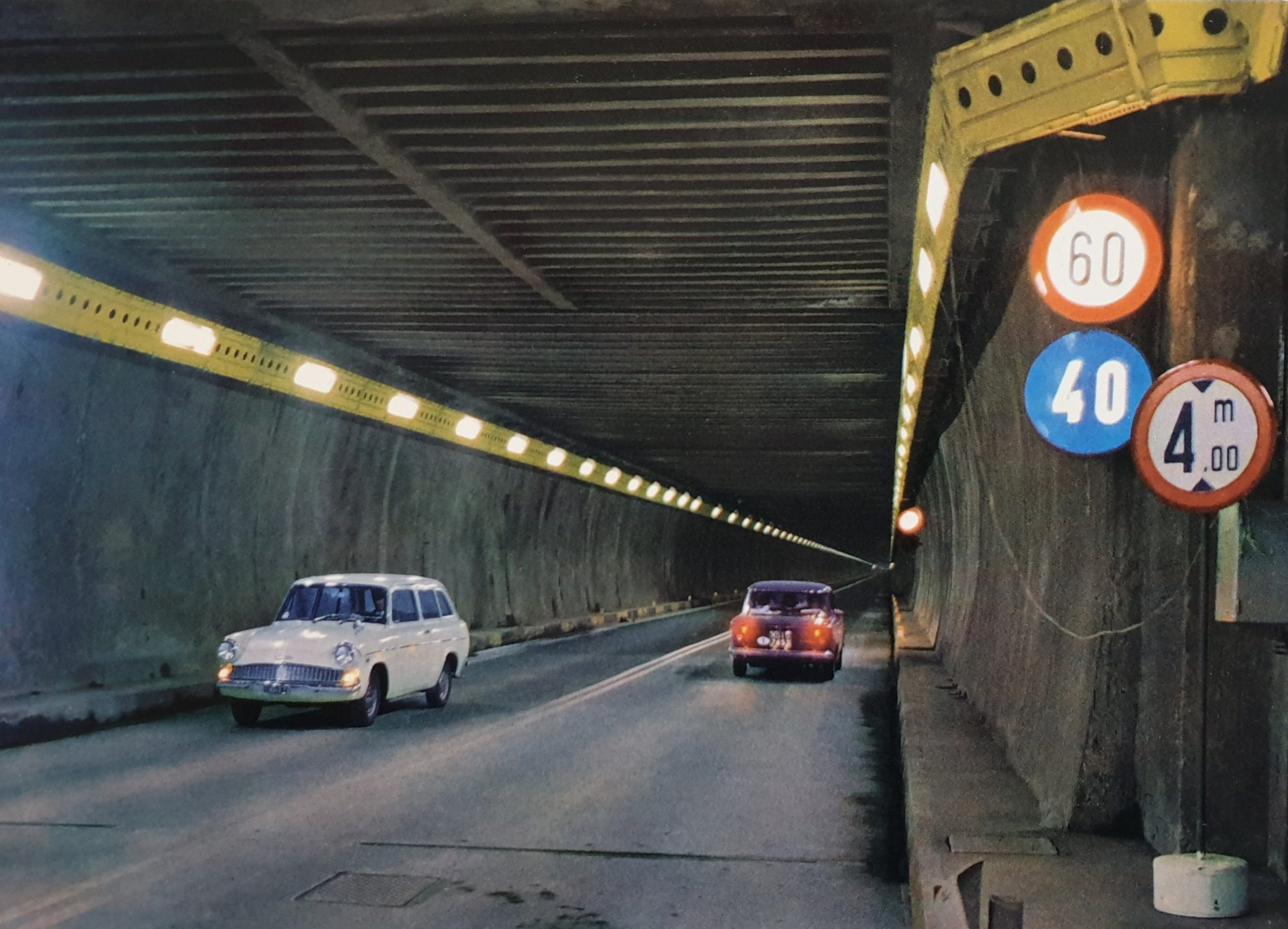 Ford Anglia 105E Estate in San Bernado tunnel